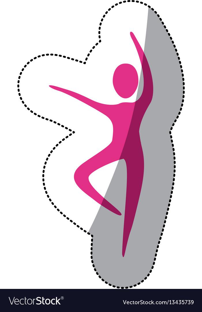 Fuchsia person dancing icon vector image