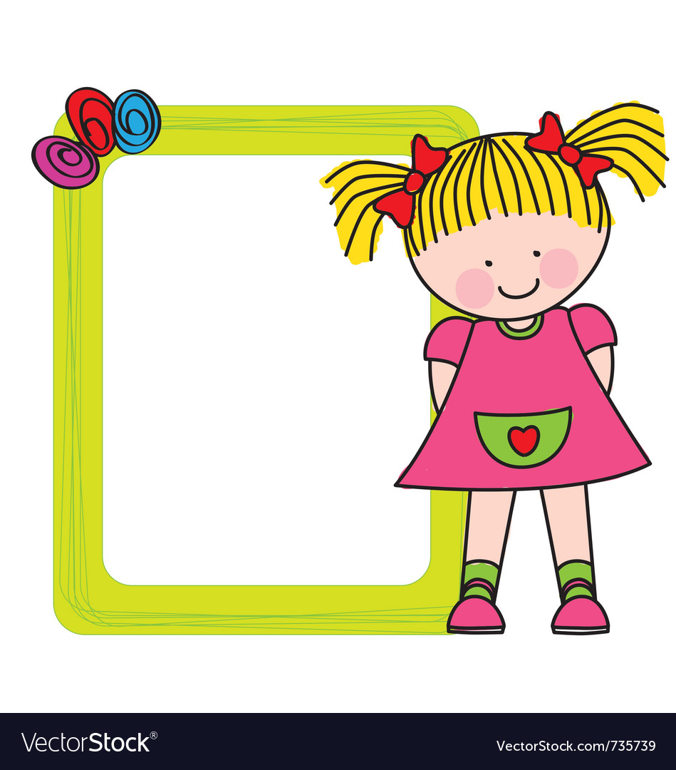 Girl frame Royalty Free Vector Image - VectorStock
