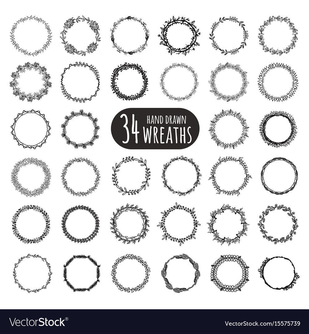 Hand drawn floral wreaths collection vector image