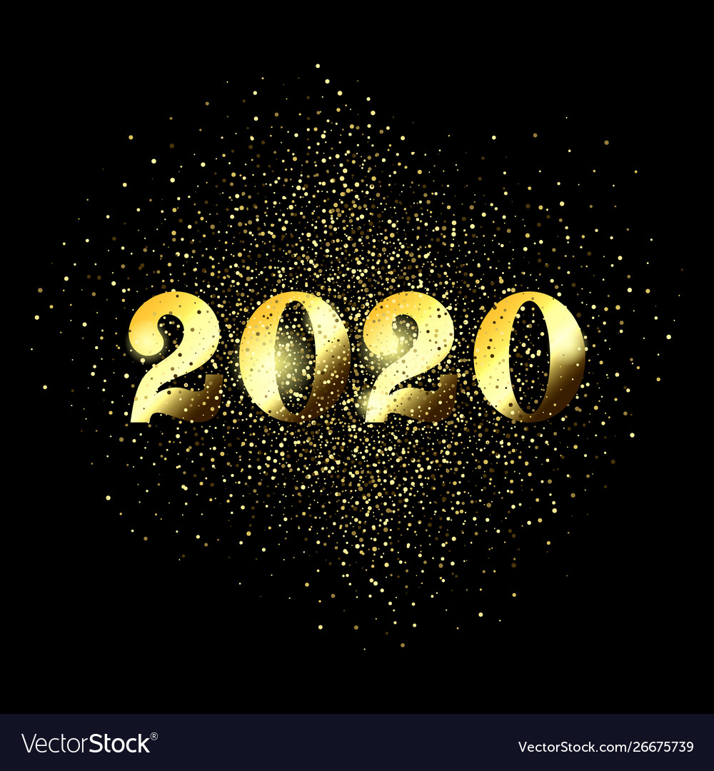 Happy new year 2020 greeting card glitter gold