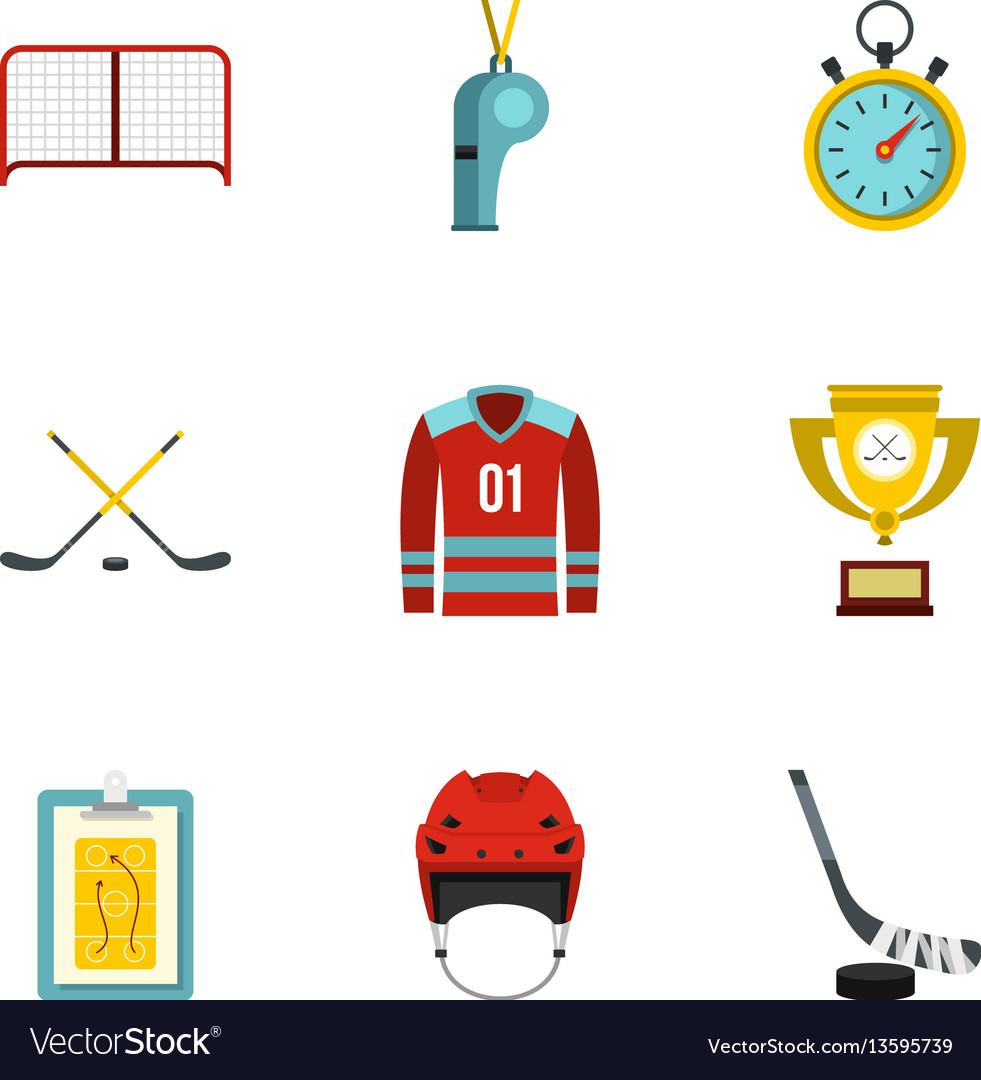 Hockey icons set flat style