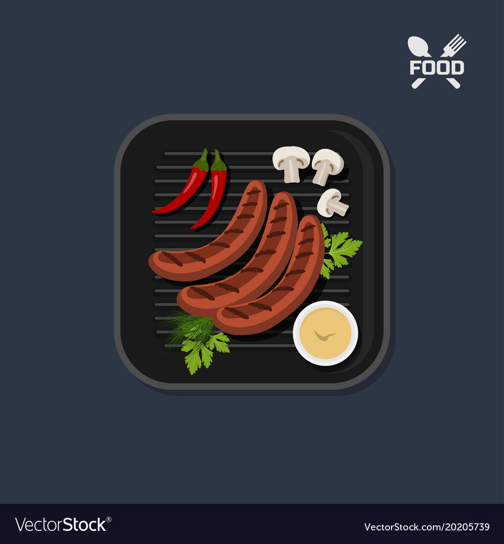 Icon of grilled sausages on pan with sause