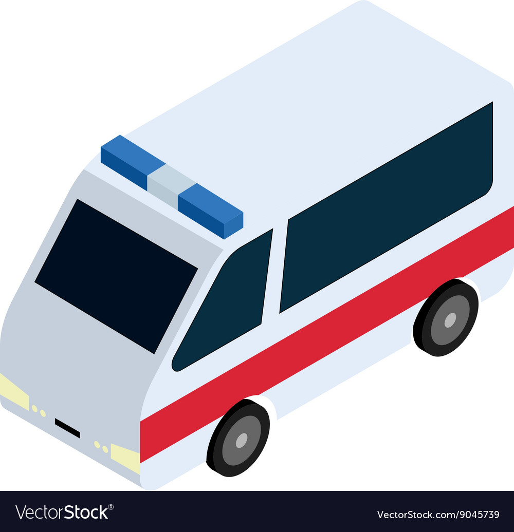 Isometric ambulance icon vector image