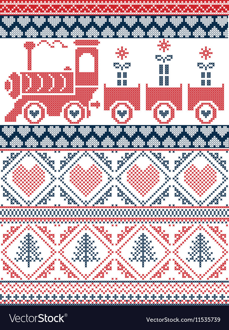 Nordic Christmas pattern with gravy train
