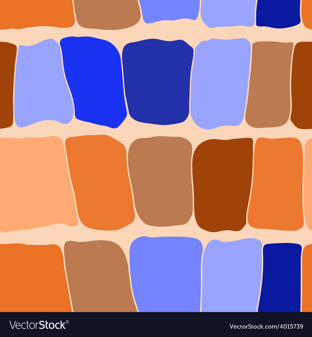 Reptile skin seamless pattern blue and orange vector image