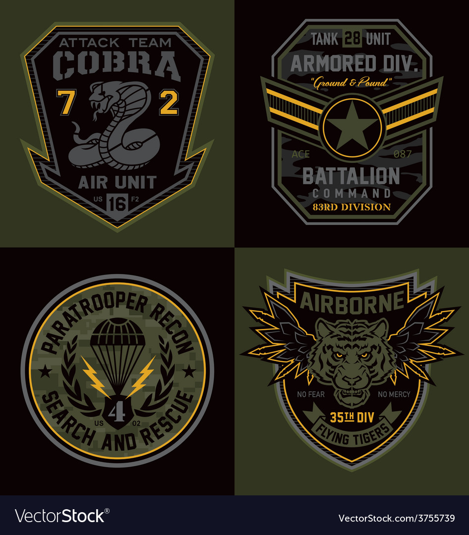 Special unit military emblems graphics vector image