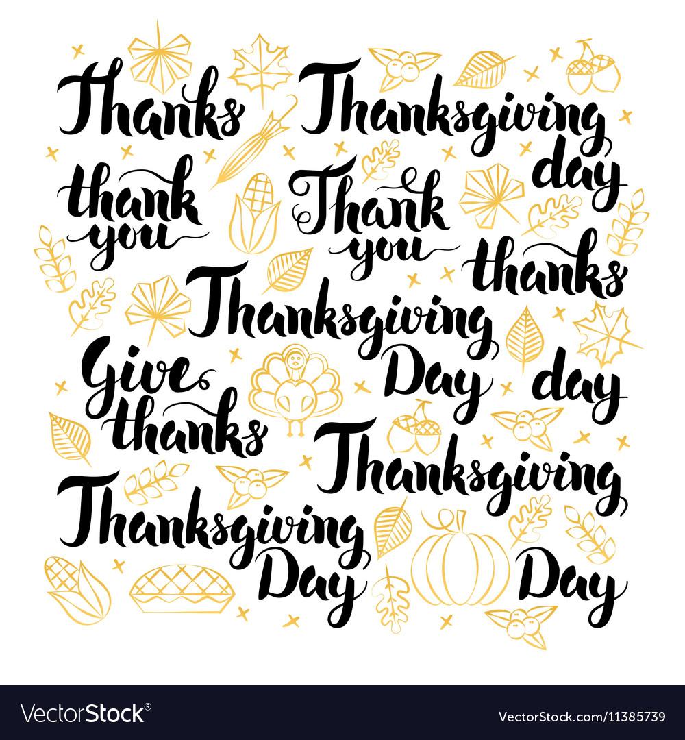 Thanksgiving Day Lettering Design Set