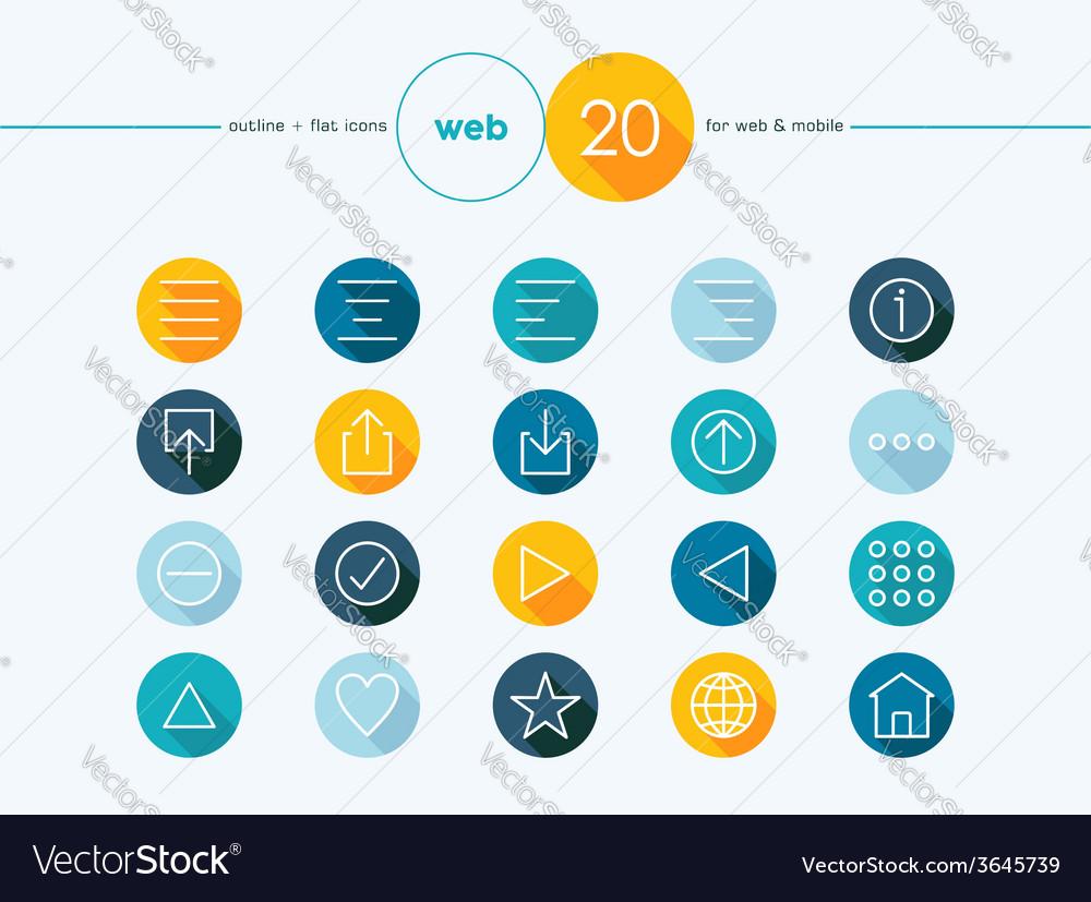Web outline style flat icons set