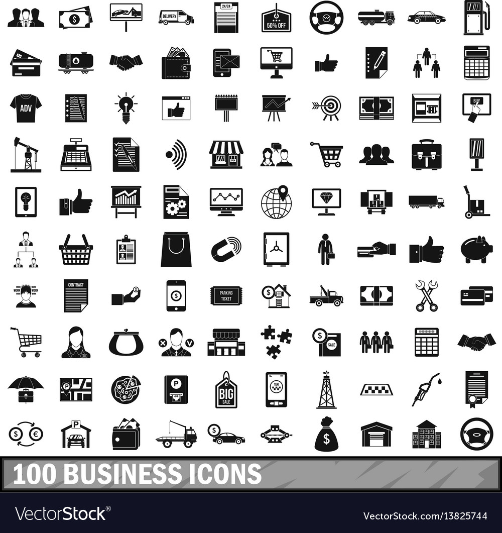 100 business icons set simple style