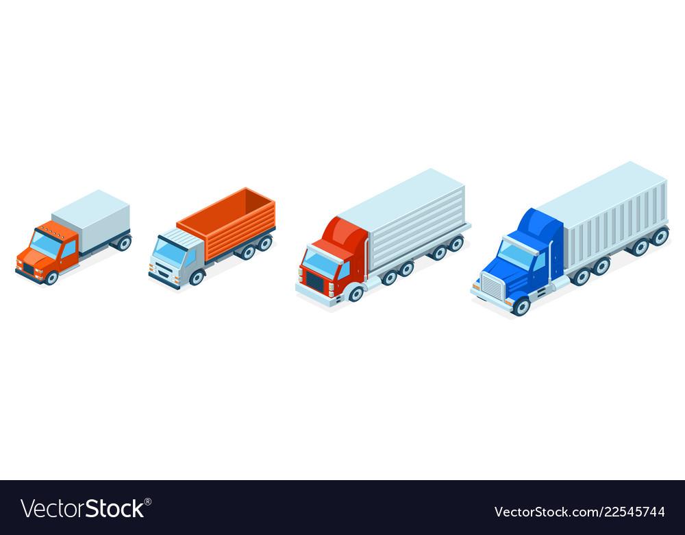 3d isometric trucks lorries shipping
