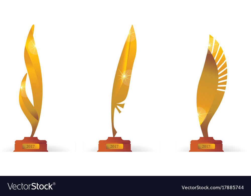 Award price gold symbol set in feather