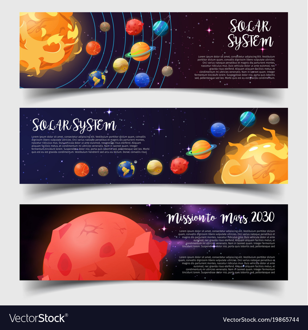 Banners for solar system astronomy mars mission