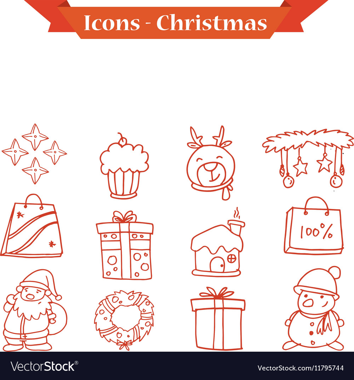 Christmas icons set collection stock