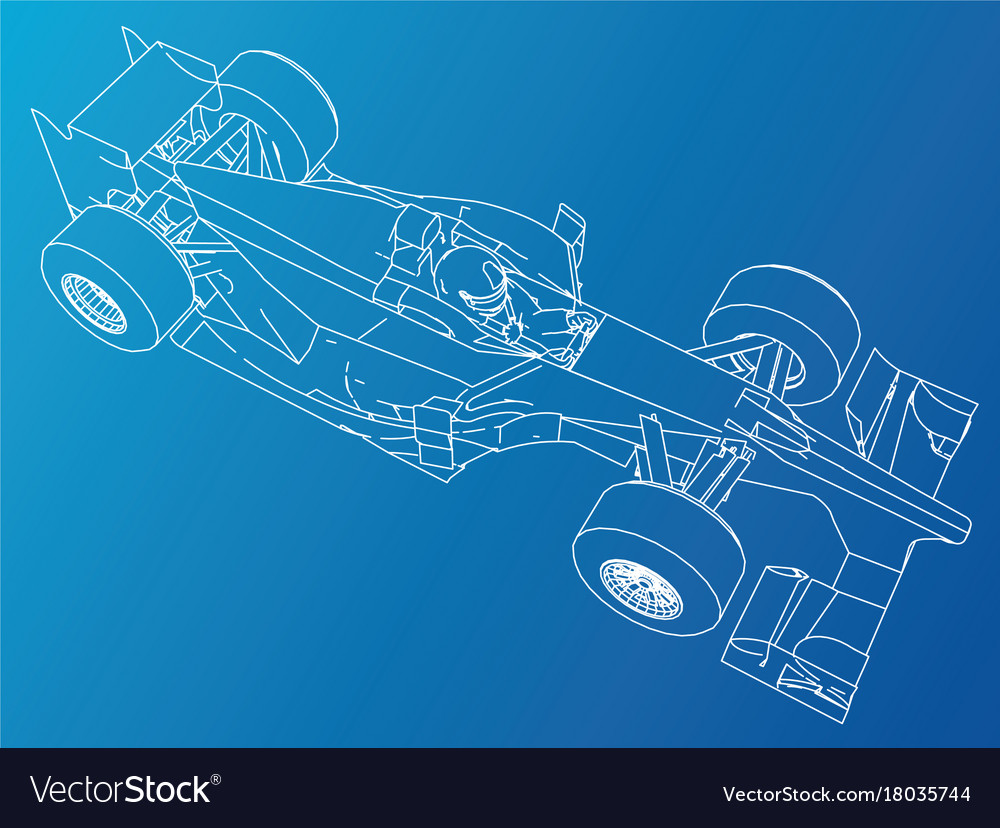 Formula race car abstract drawing tracing