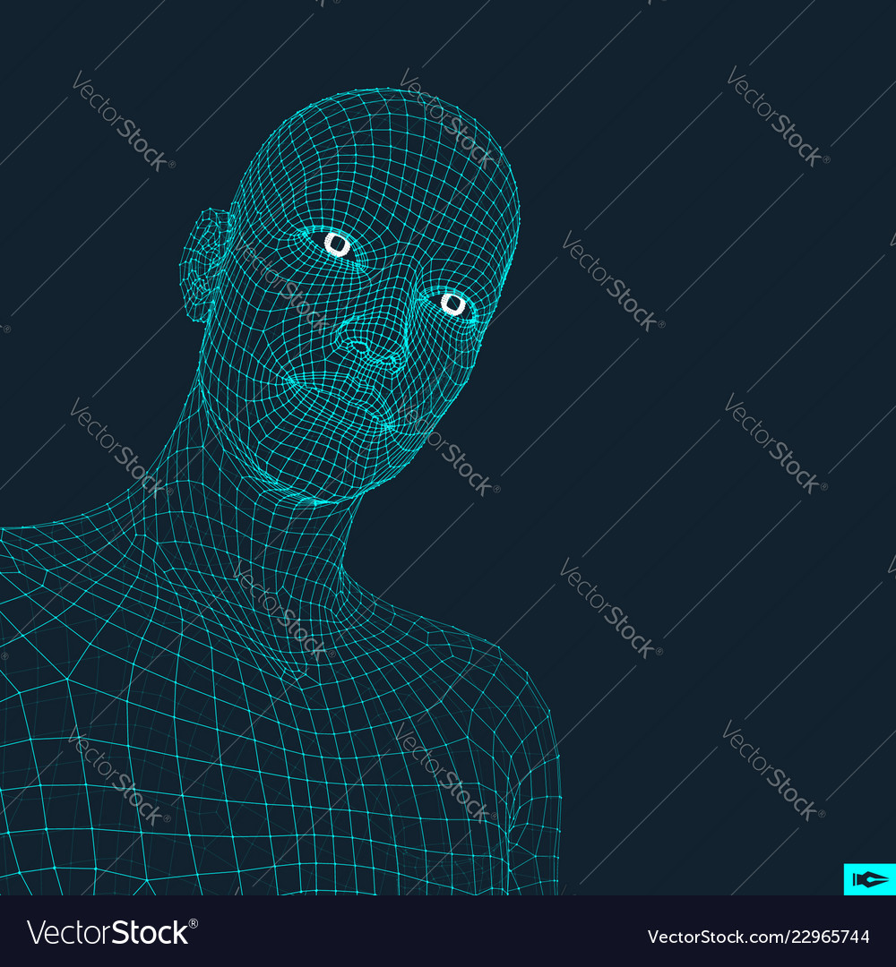 Head person from a 3d grid human head wire