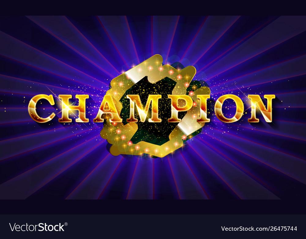 Inscription champion in a glowing retro frame