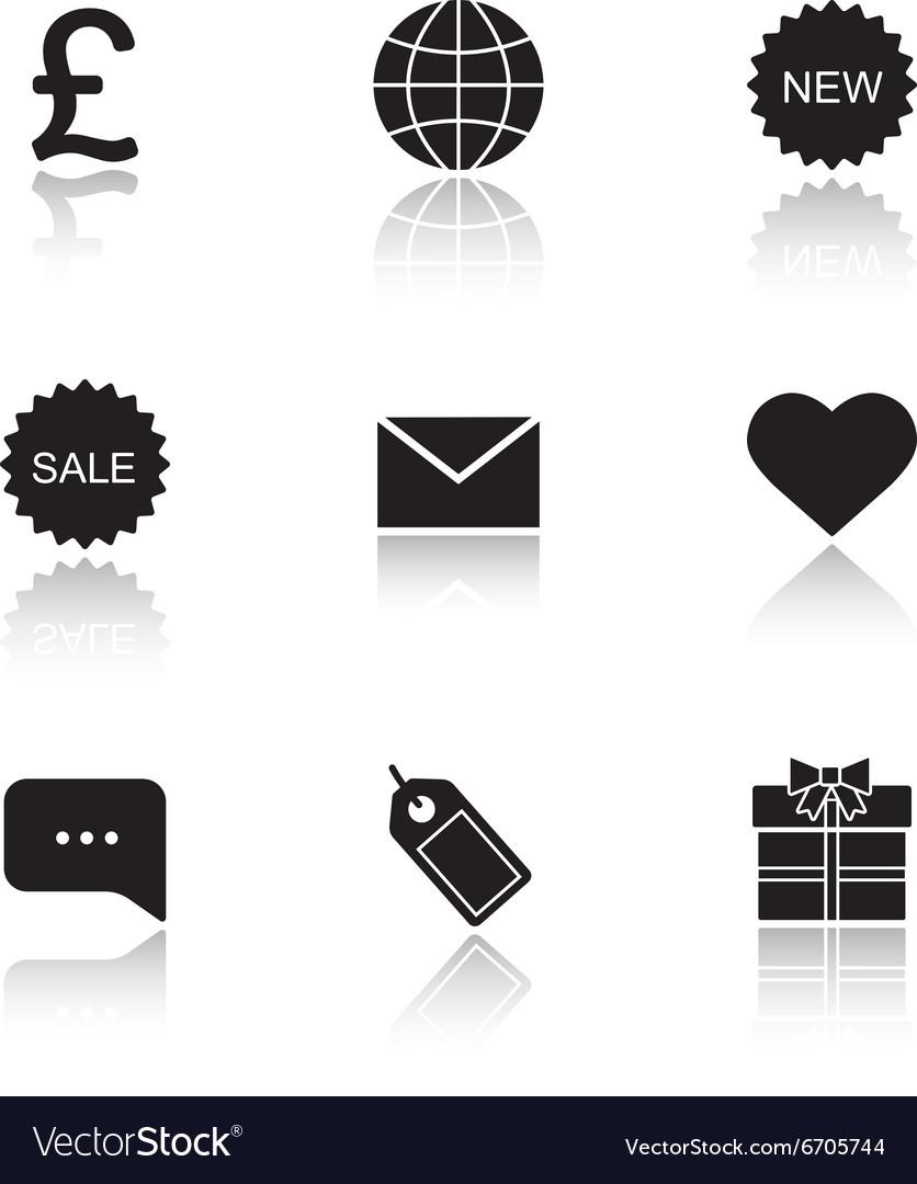 Web store drop shadow icons set vector image