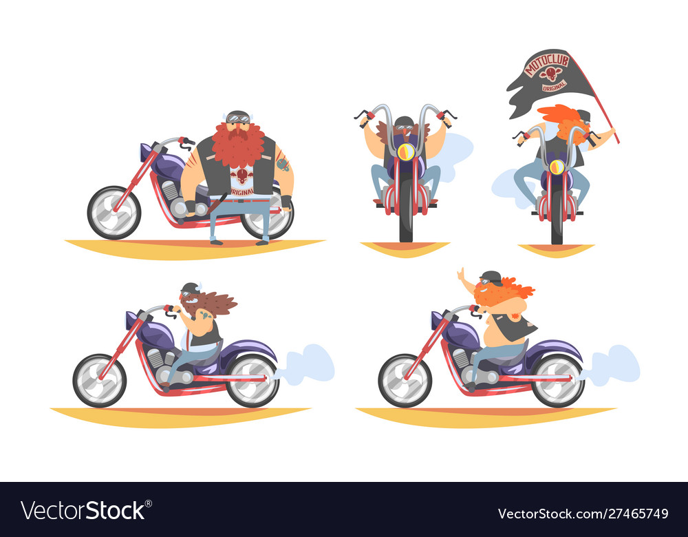 Brutal biker character riding motorbike set
