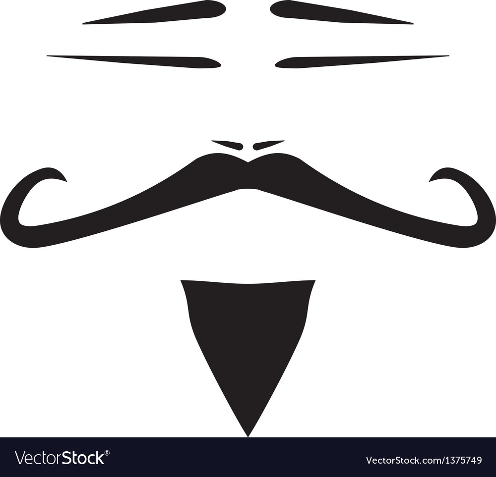 Chinese man face with mustache and slanted eyes