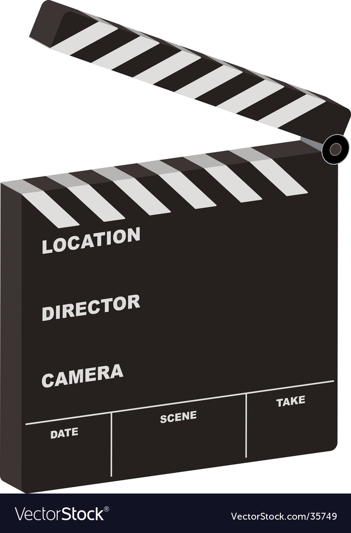Film clapper 3d open vector