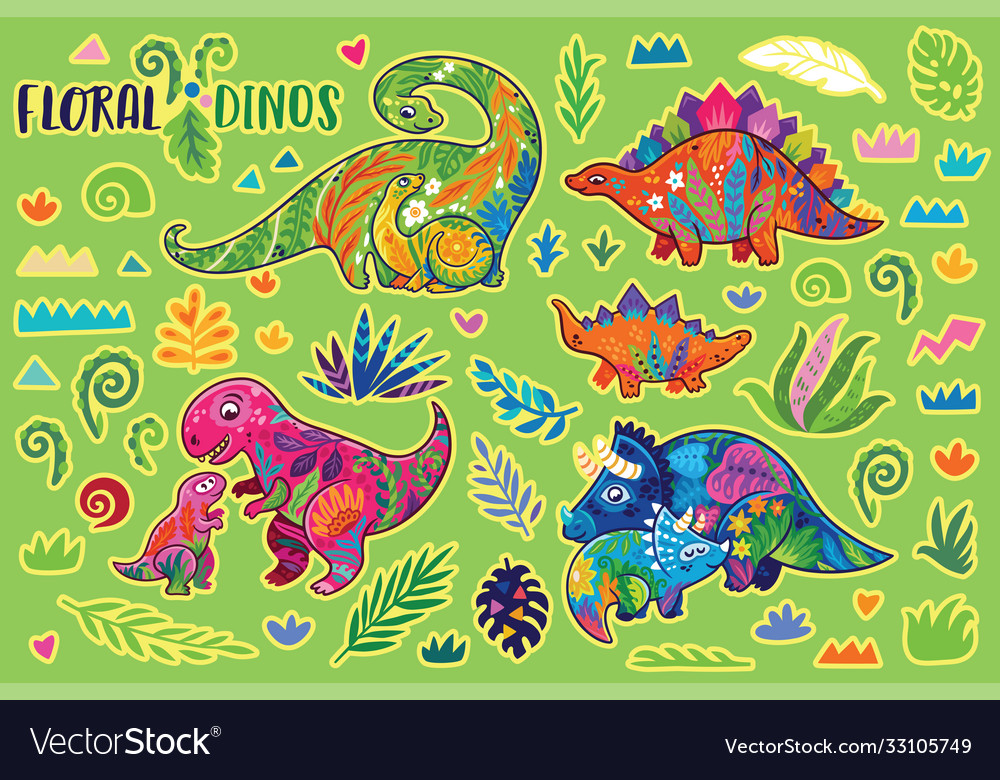 Floral dinosaurs bright sticker set