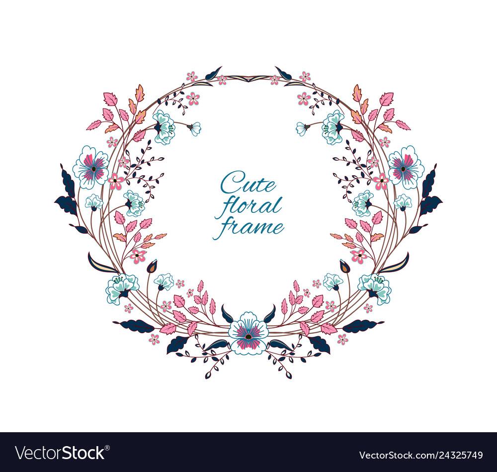Floral frame cute retro flowers arranged un a