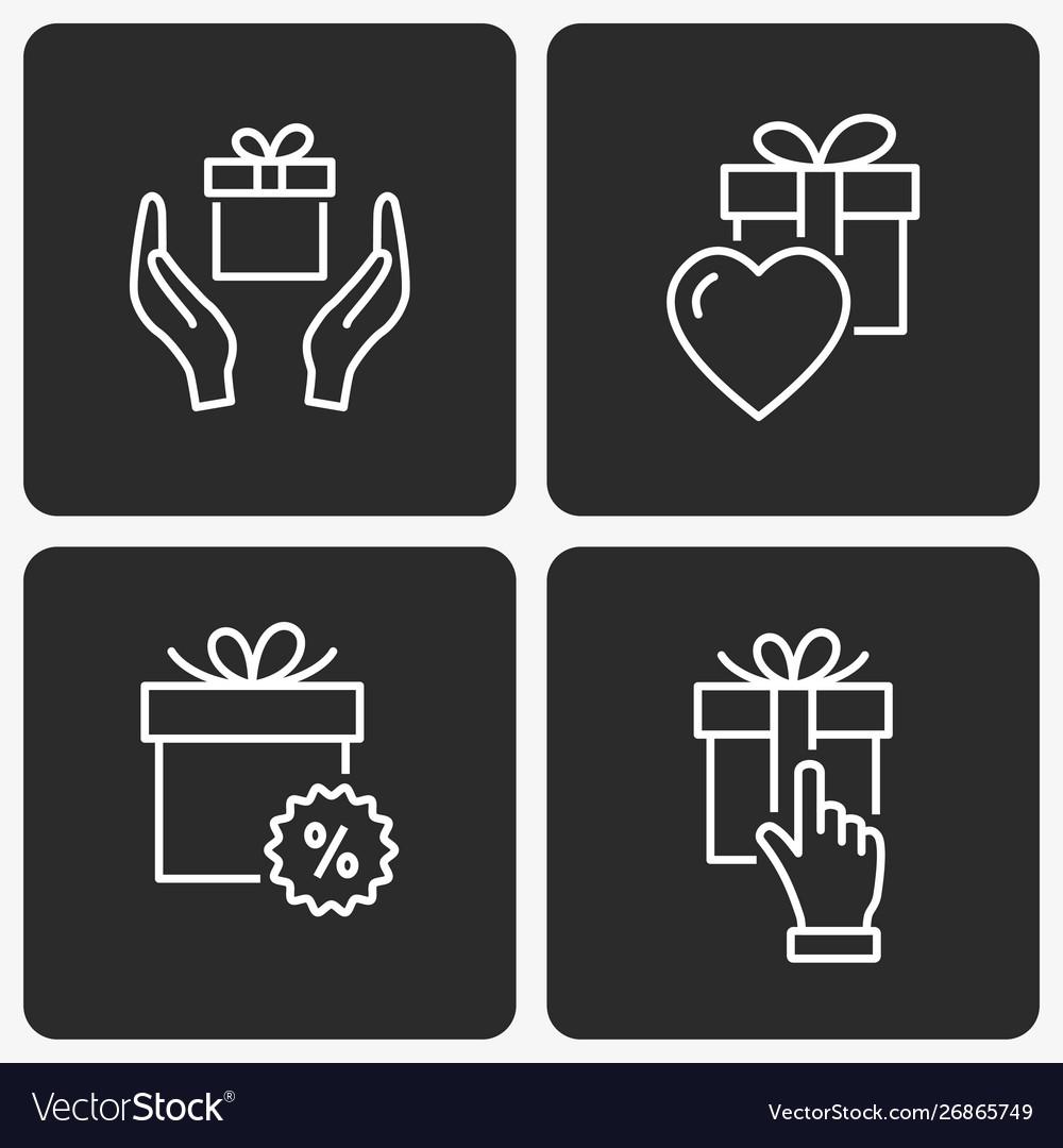 Gift box icon set on black background