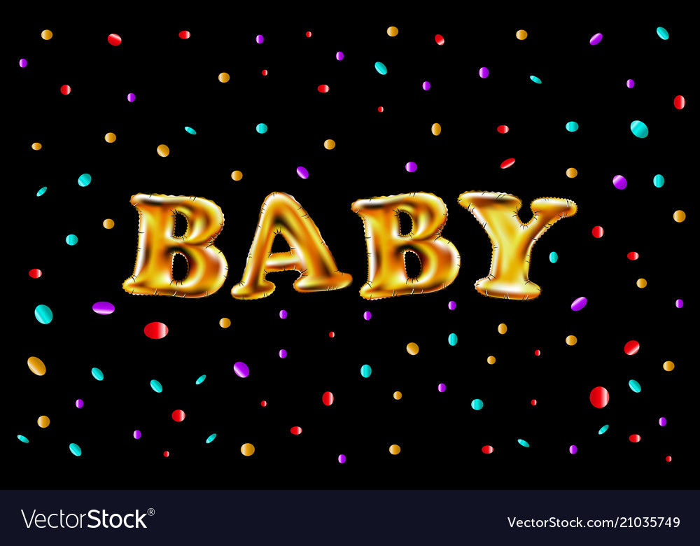 Gold Letter Baby Balloons Birthday Vector Image