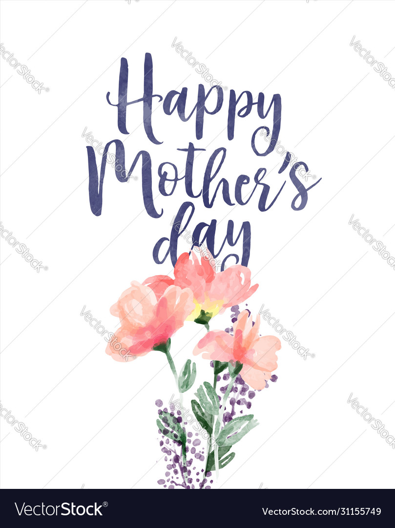 Mothers day watercolor pink flower card