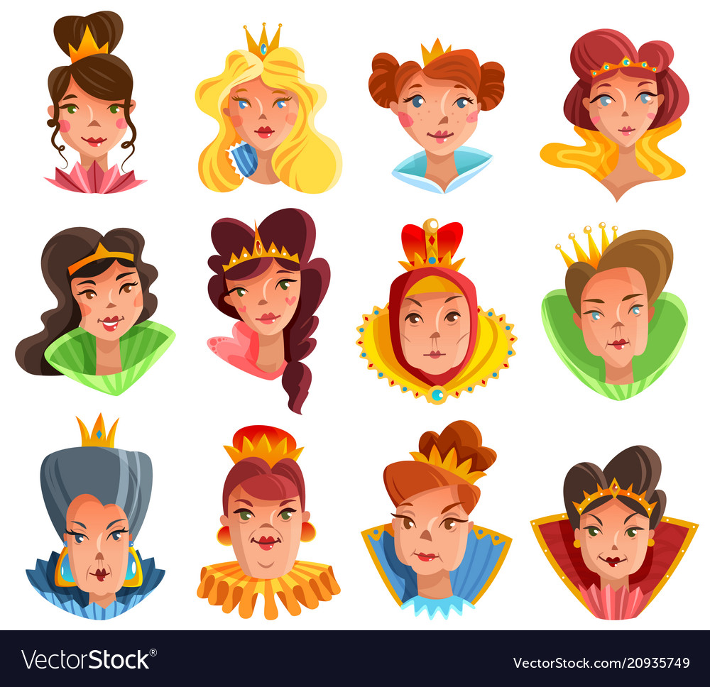 Princess and queen heads set