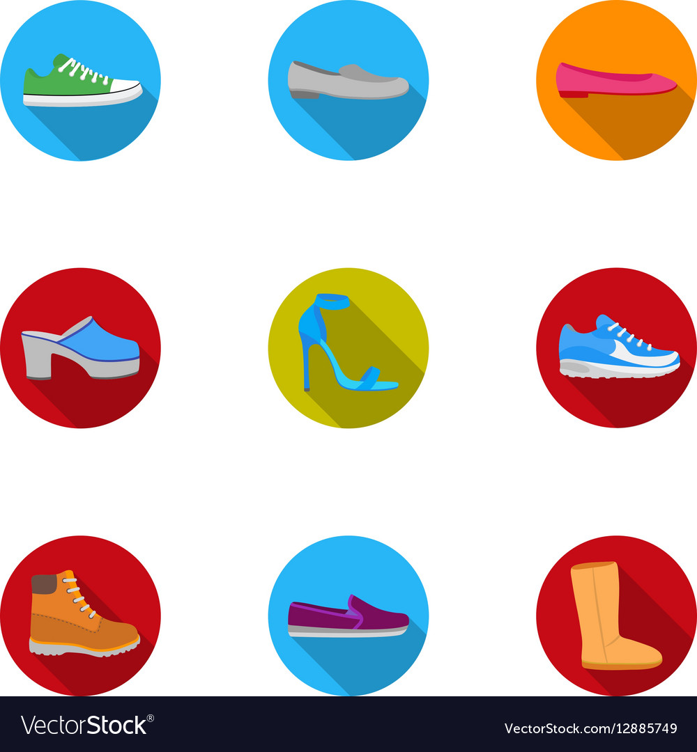 Shoes set icons in flat style Big collection of