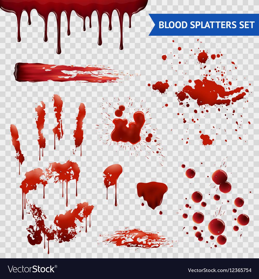 Blood Spatters Realistic Samples Transparent Set