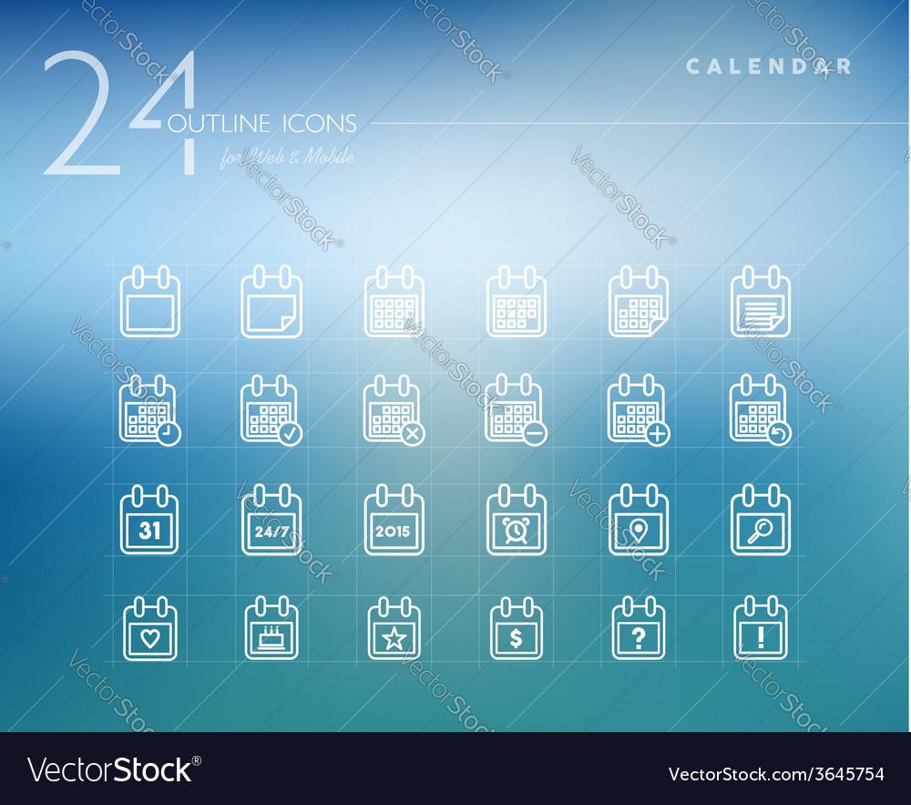 Calendar outline icons set