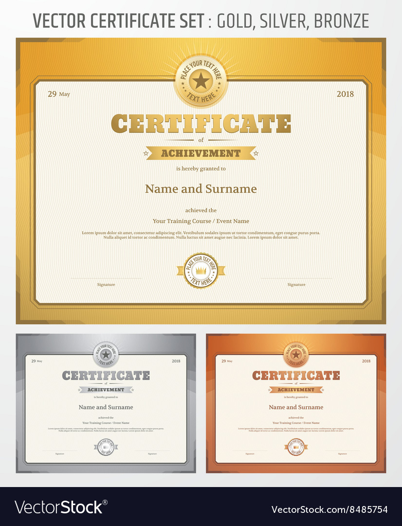 Certificate Achievement Set Gold Silver Bronze Vector Image