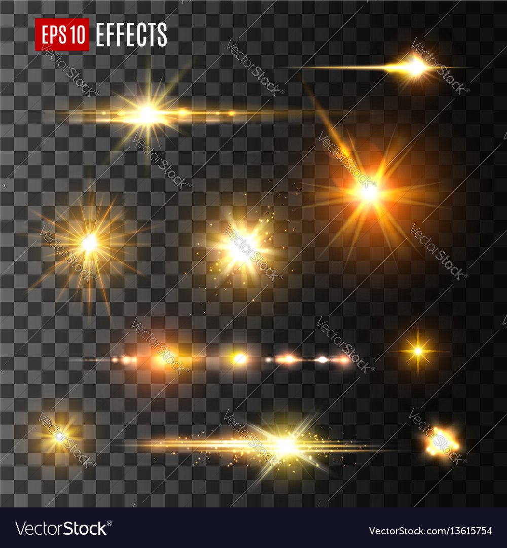 Gold light flash or star shine light icons