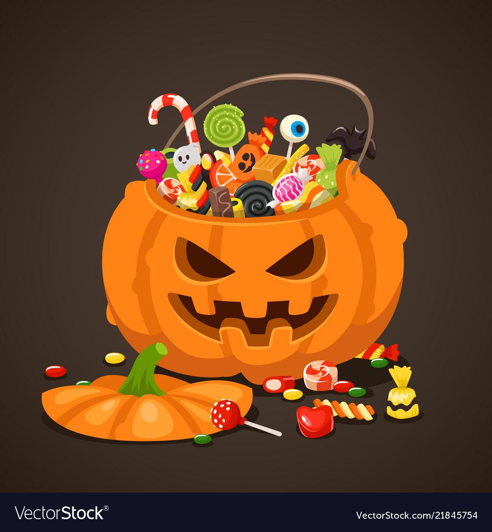 Halloween Candies In Pumpkin Bag Sweet Lollipop Vector Image