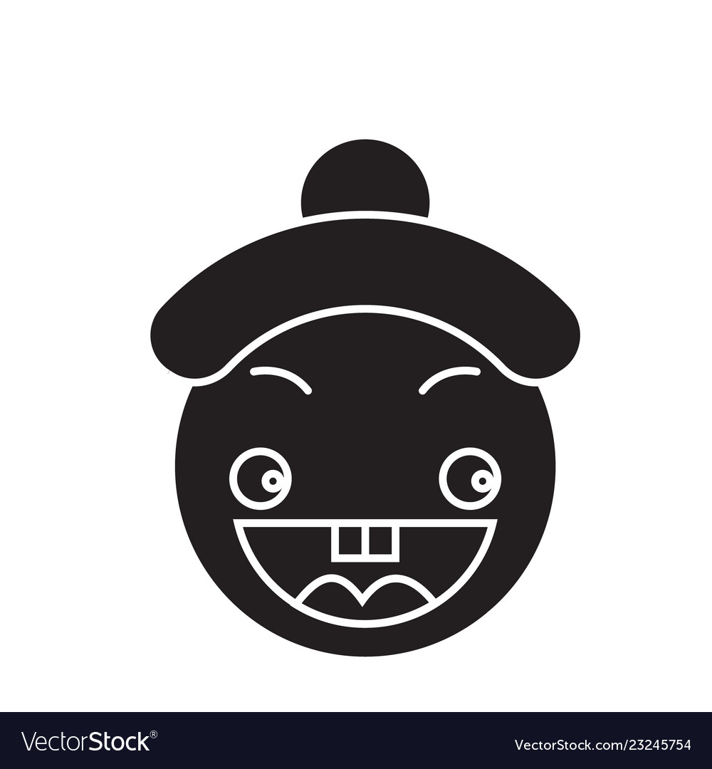 Happy chinese emoji black concept icon