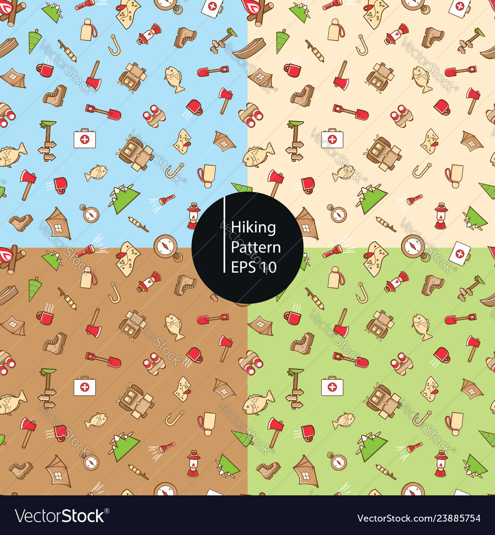 Hiking icons seamless pattern background