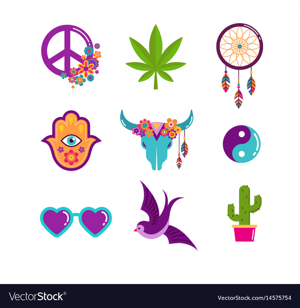 Hippie bohemian design with icons set stickers