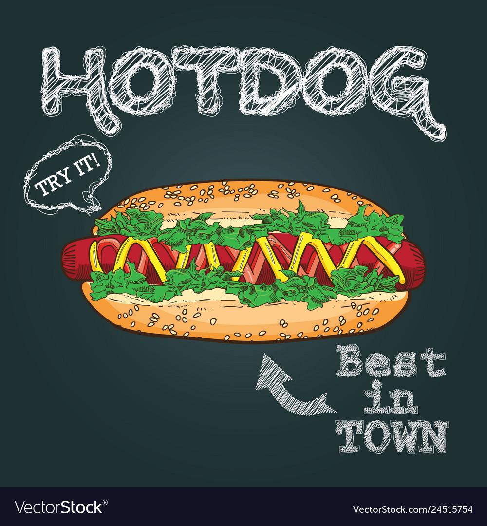 Hotdog hand drawn hot dog hot dog poster