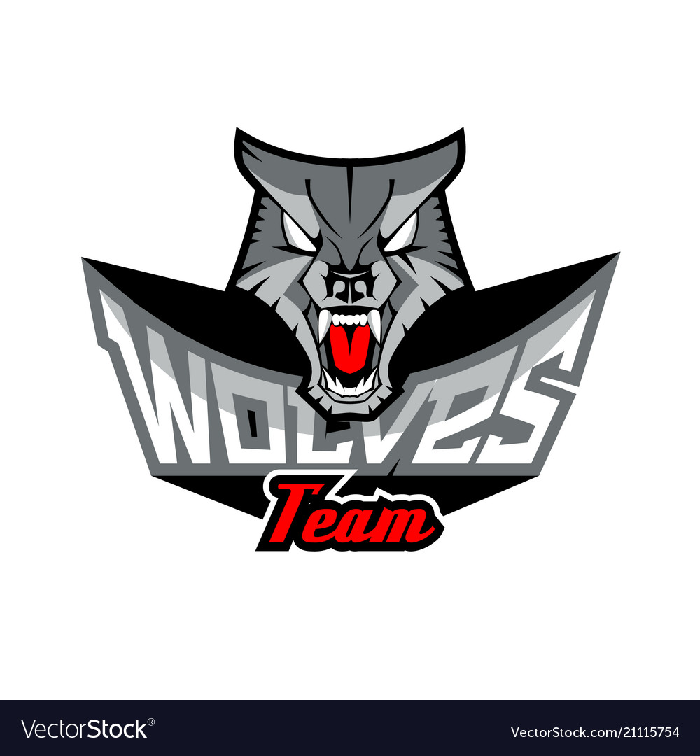 logo template with wolf head royalty free vector image