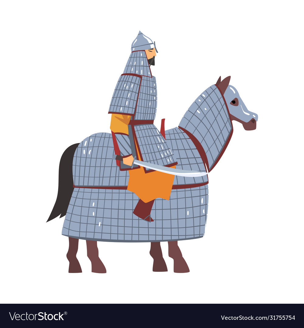 Mongol nomad warrior riding horse central asian