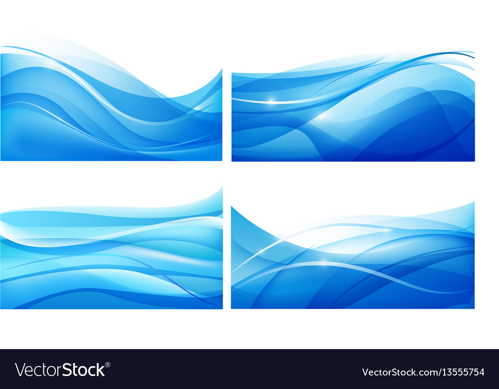 Set of abstract blue wavy background water vector image