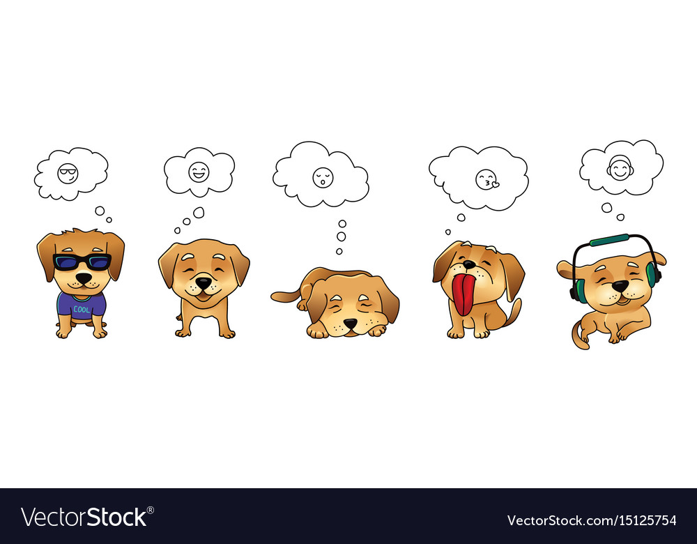 Set of dog emojis vector image