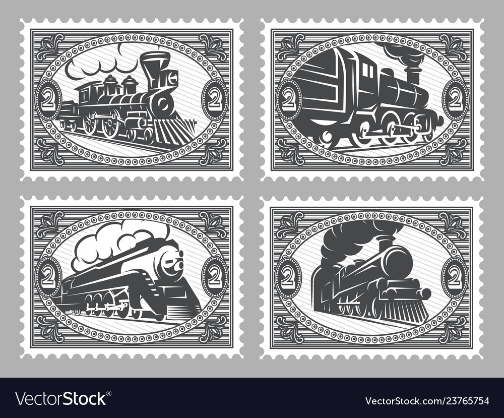 Set stamps templates with retro trains