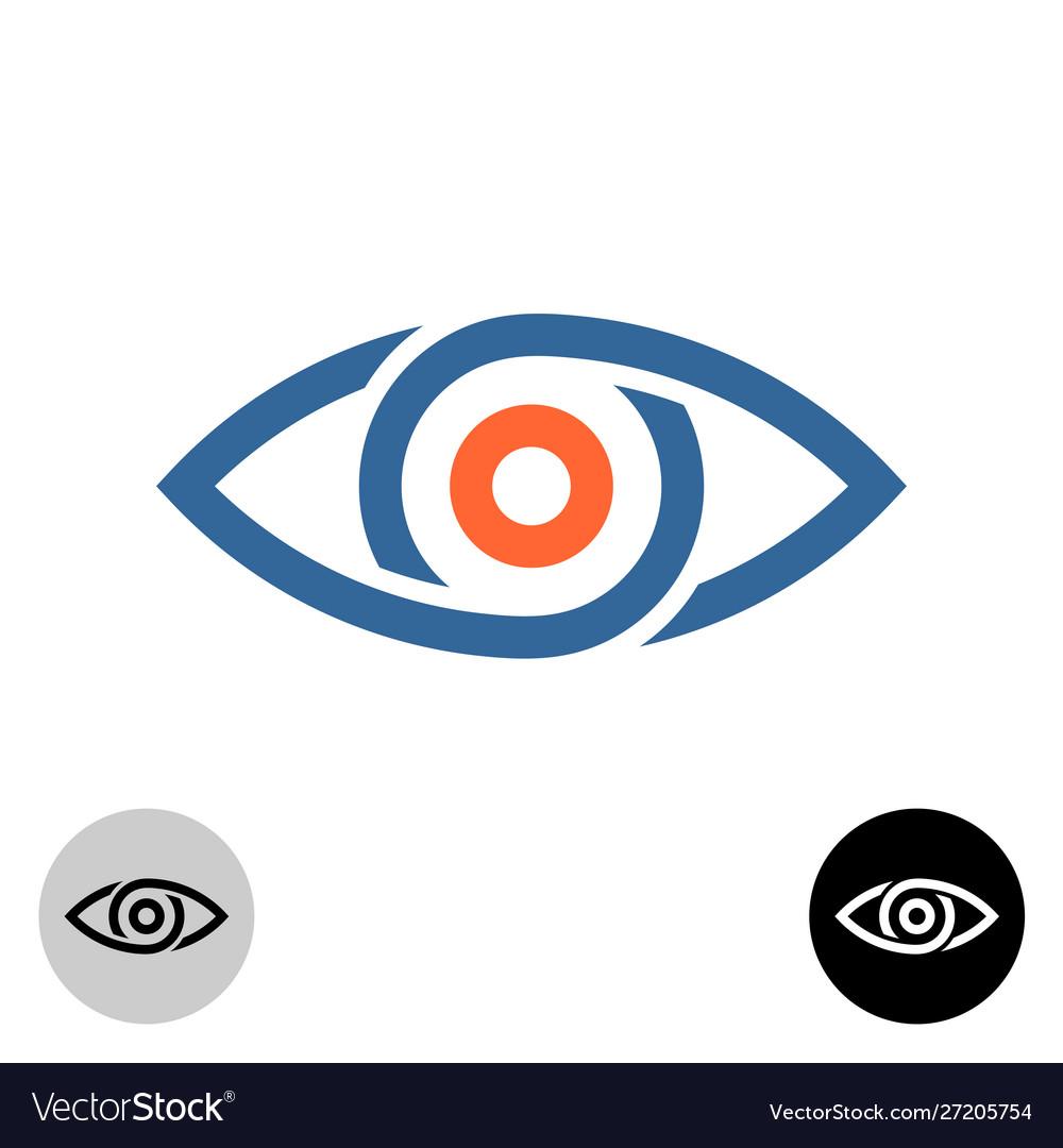 Stylized eye logo chain segments or drops around