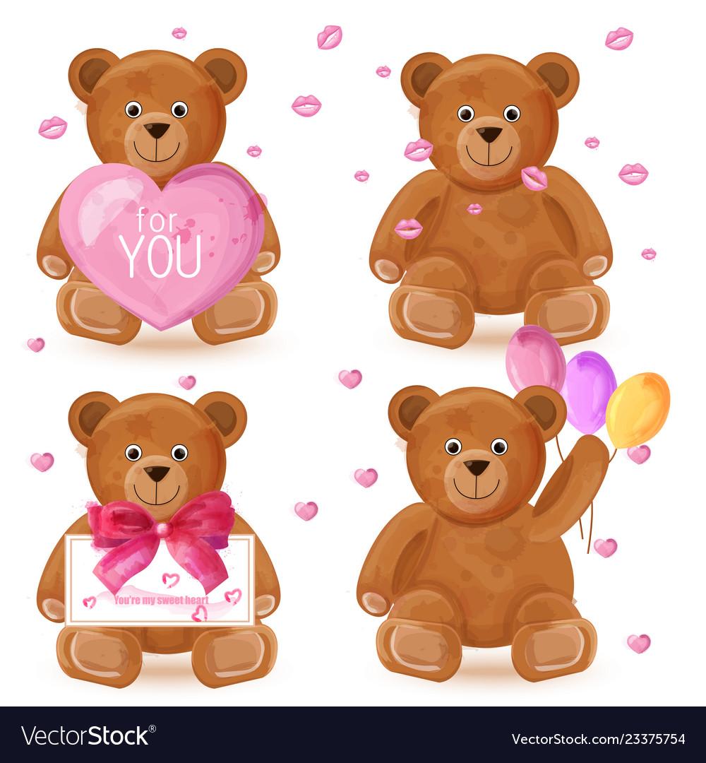 Teddy bear set romantic cute cartoon bears