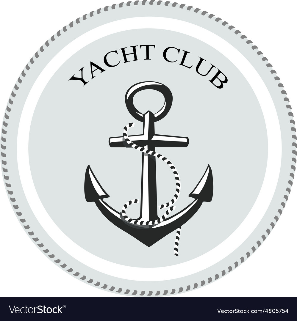 Yacht club logo anchor on a white