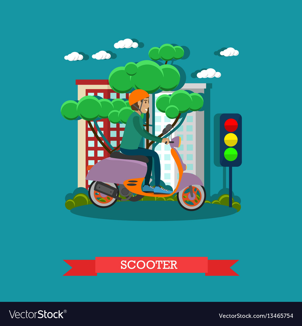 Young man riding scooter in