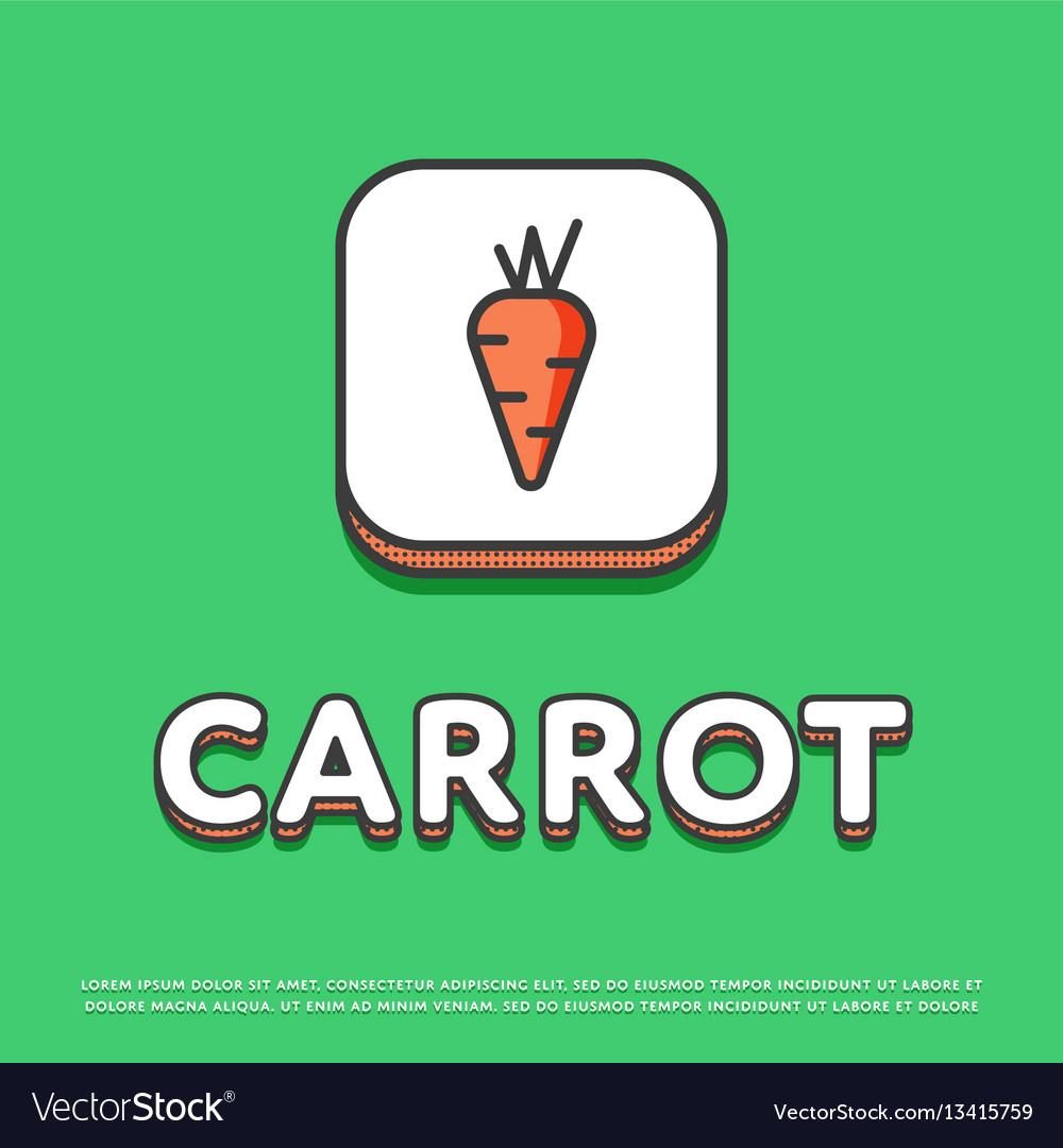 Carrot colour icon in line design